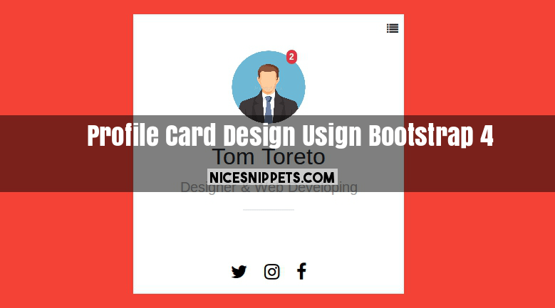 User Profile Card Design Usign Bootstrap 4 Card Design Cards Design