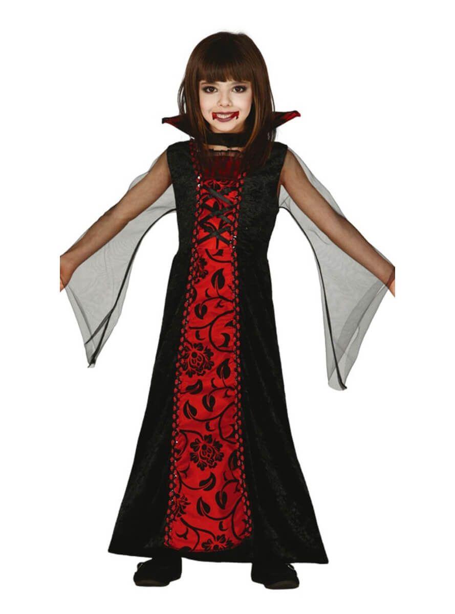 vestido de vampira gtica negro y rojo para nia