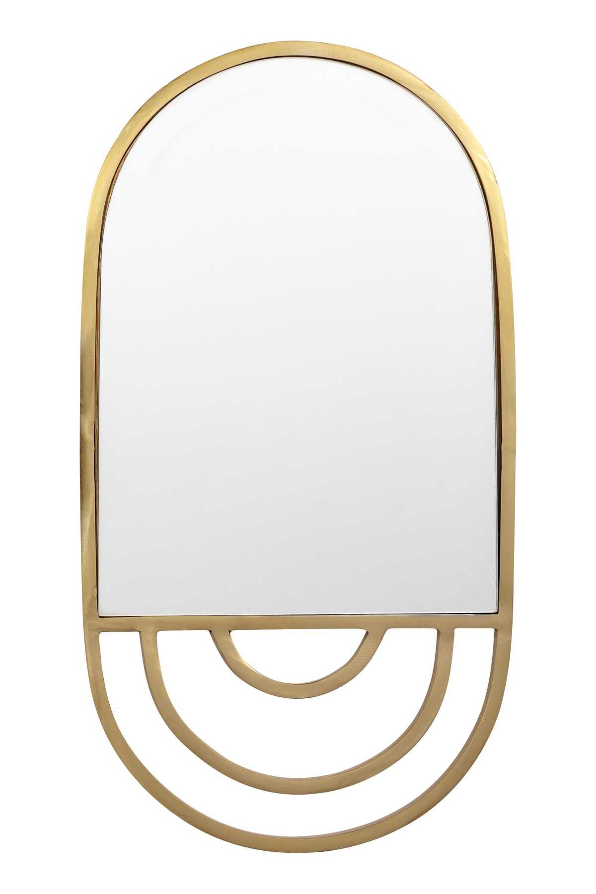 Gold Colored Oval Mirror In Glass With A Metal Frame Hanger At Back Size 9 1 4 X 17 1 4 In Metal Frame Mirror Mirror Frames Tile Mirror Frame