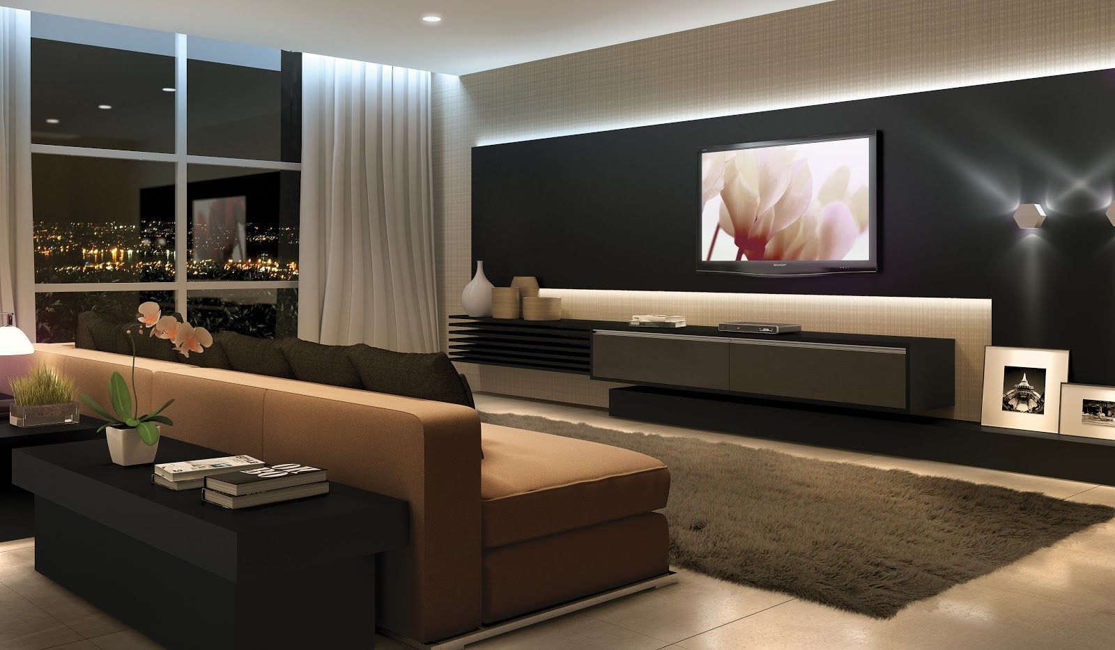 Sala Tv Home Theater ~  sala tv unit home theaters led light interior design tvs search tv