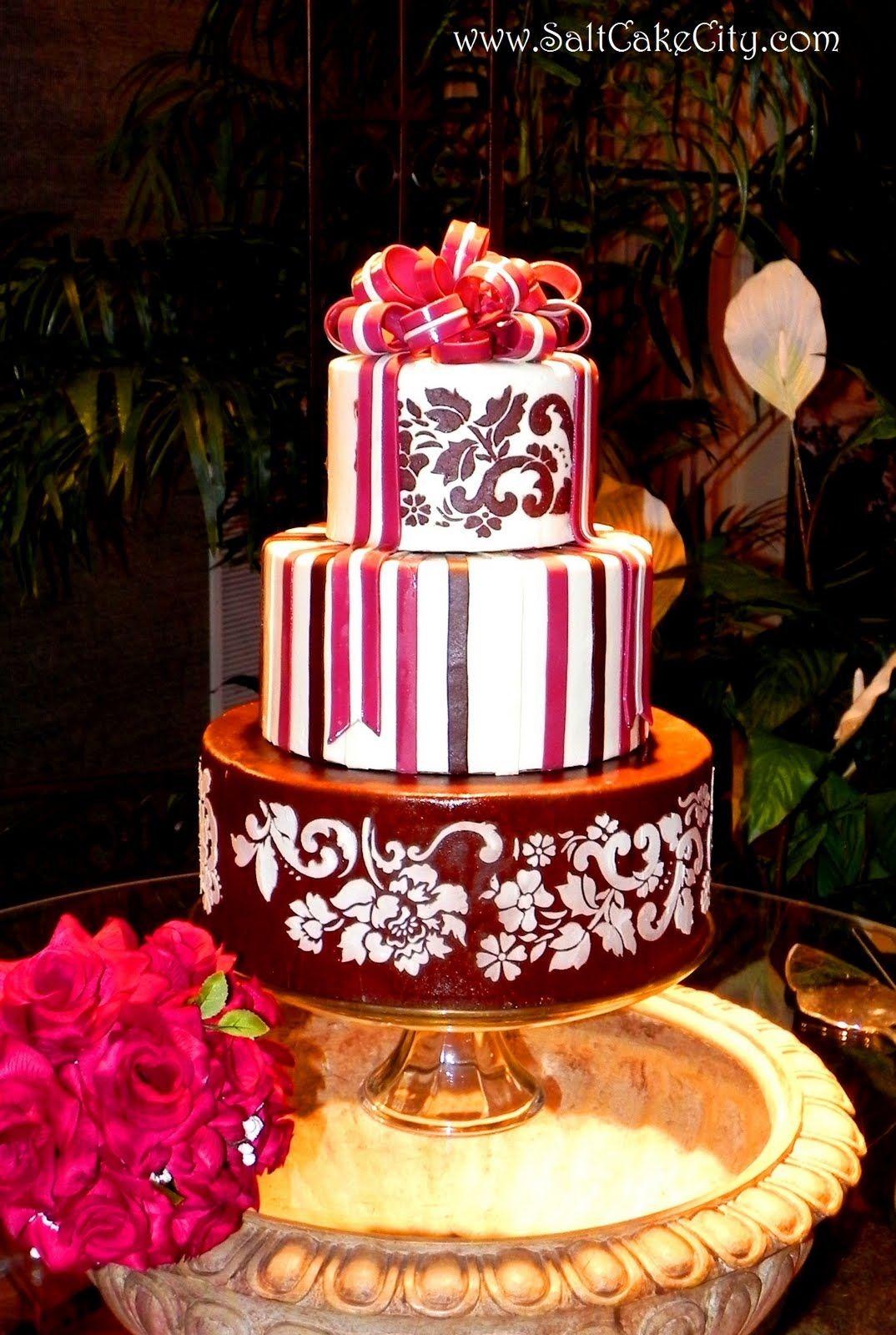 Vintage looking burgundy and brown wedding cake cakes pinterest