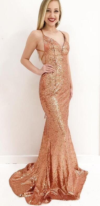 gold sequins mermaid long prom dress, 2018 long prom dress, formal ...