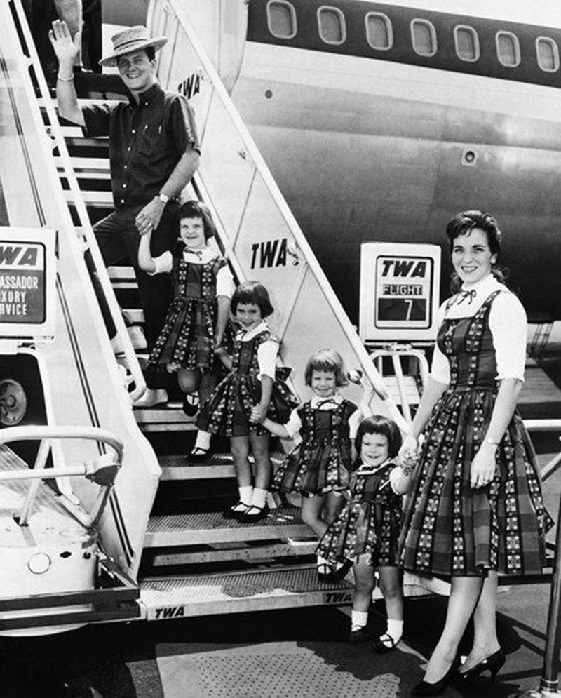 Pat Boone And Family Boarding Twa Flight 7 A Boeing 707