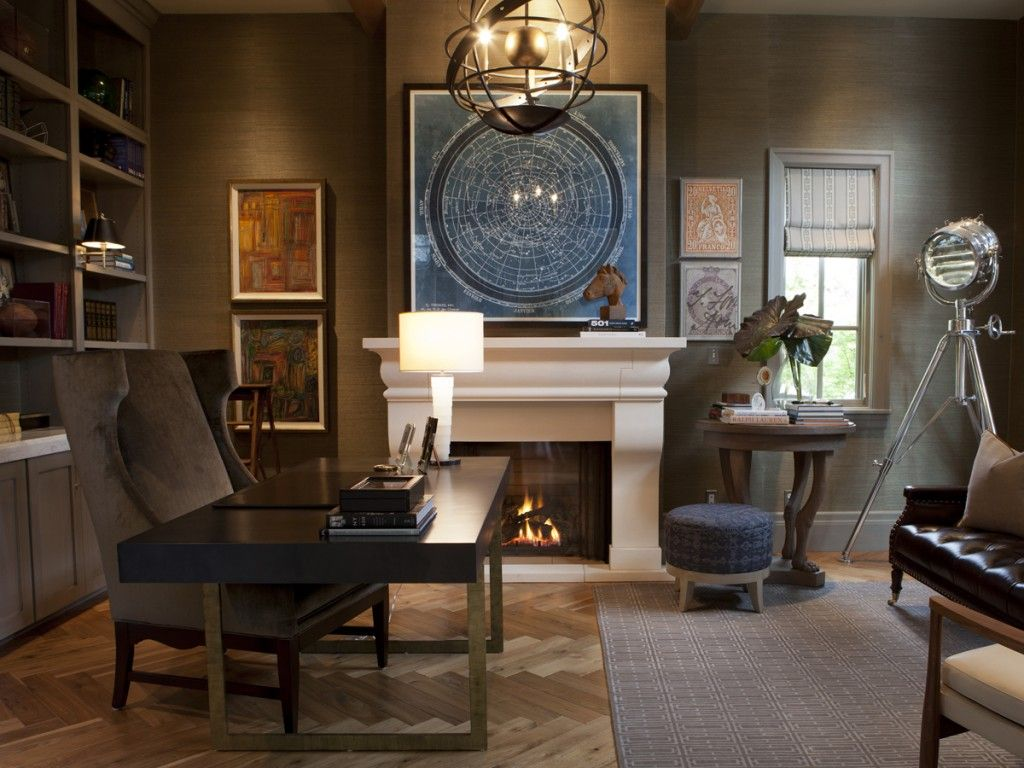 wallpapered office home design. Interiors By Alice Lane Home Collection | Office, Man\u0027s Gray Grasscloth, Fireplace Wallpapered Office Design