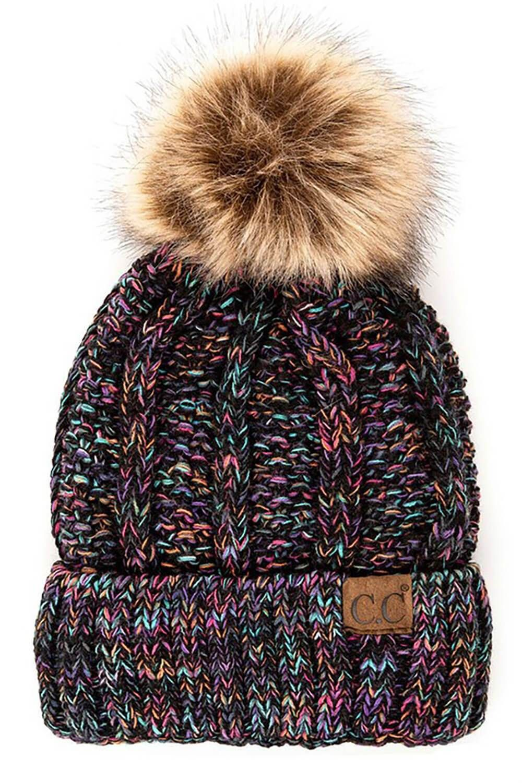 CC Beanie Fuzzy Lined Fur Pom Beanie in Black Multi #beanies