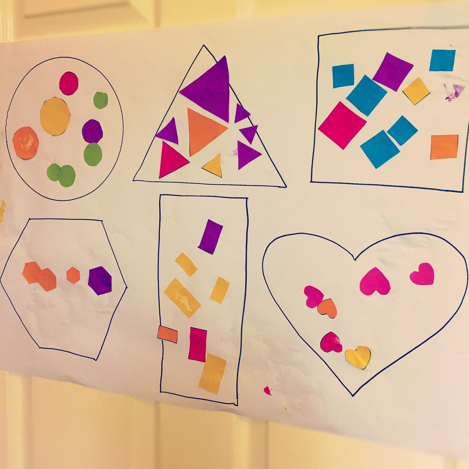 Sticky Shape Sorting Activity In