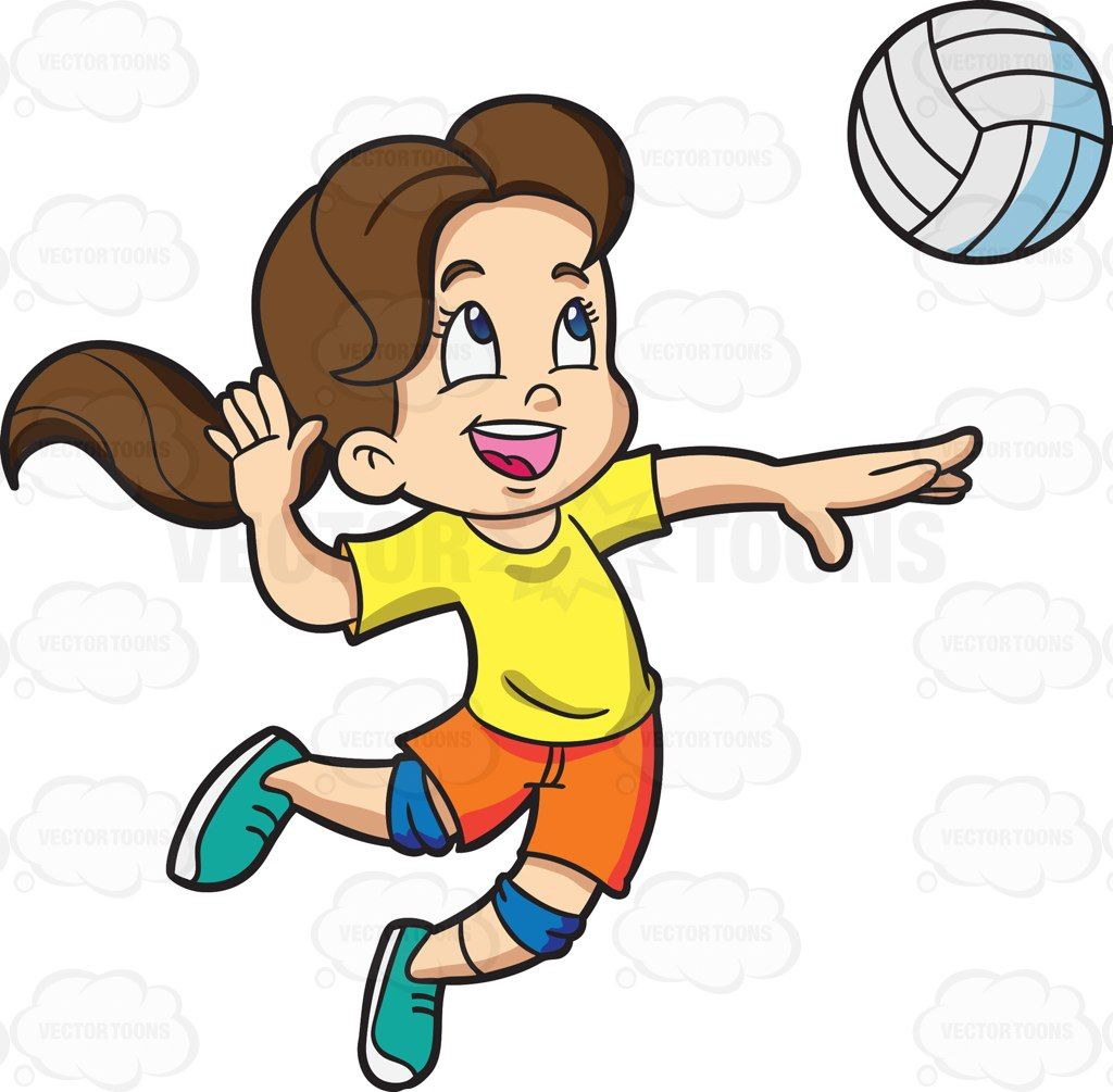 A Girl Playing Badminton Vector Graphics Vectortoons Com Badminton Clip Art Volleyball