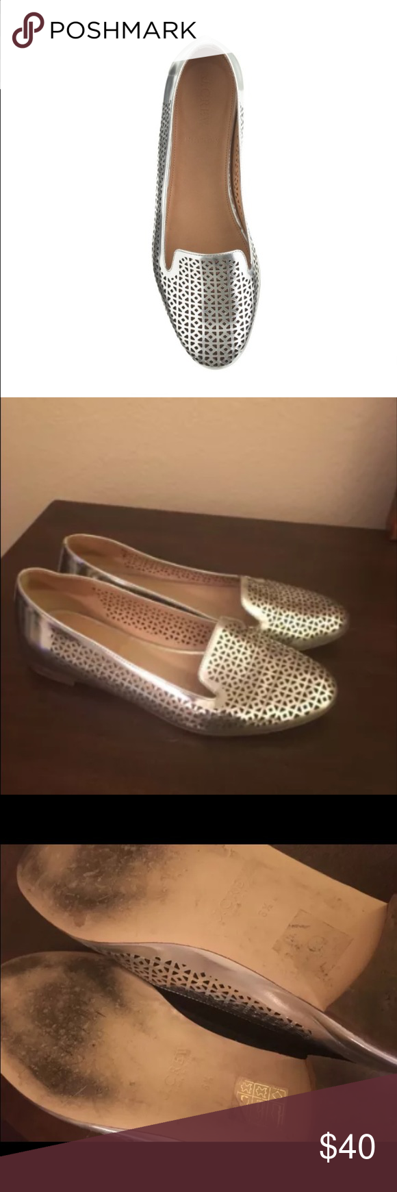 Cleo perforated mirror metallic loafer J. CREW Cleo perforated mirror metallic leather loafers, worn a couple of times, great condition! Size 6.5, silver color Metallic leather upper Leather lining Made in Italy. J. Crew Shoes Flats & Loafers