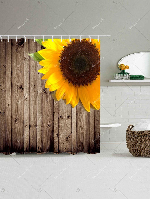 Waterproof Sunflower Wood Grain Shower Curtain
