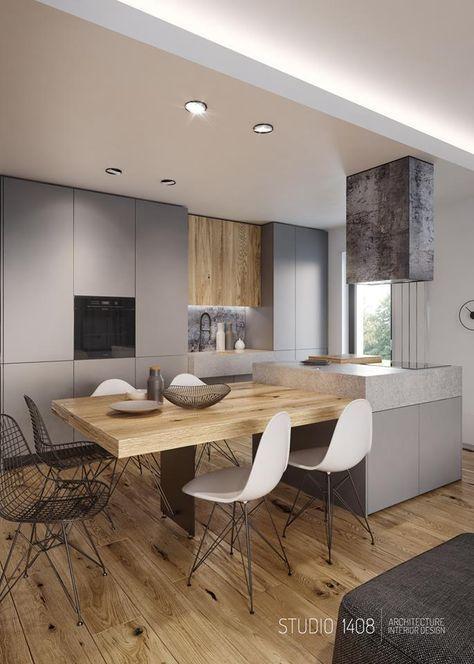 Cuisine moderne gris et bois wwwgares-conception Idées pour - Cuisine Moderne Avec Ilot