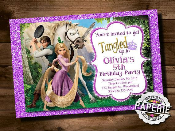 PRINTABLE Tangled Invitation Rapunzel Invitation Disney Princess