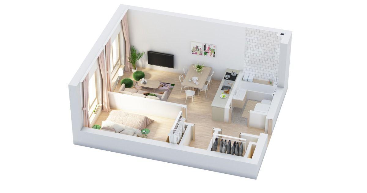 40 More 1 Bedroom Home Floor Plans Apartemen Kecil Desain Rumah Dekorasi Rumah