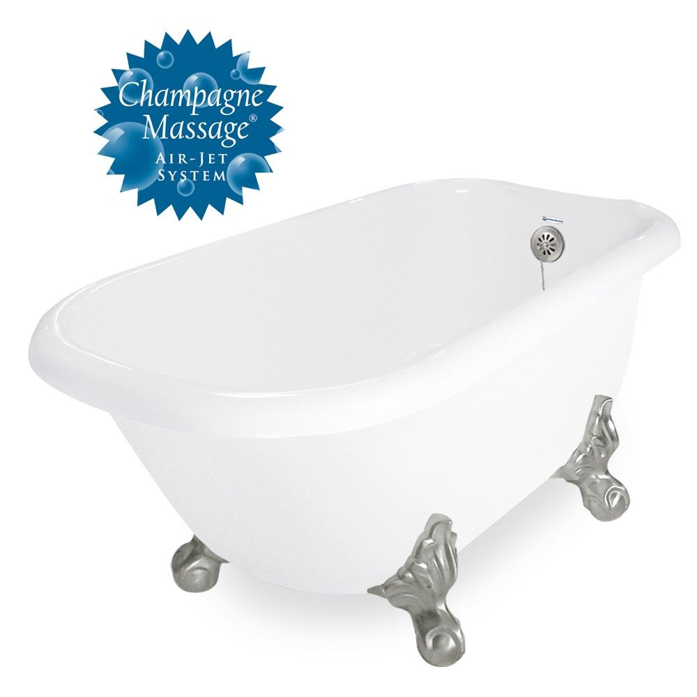 American Bath Factory Champagne Trinity 60 White Acrastone Tub Drain 7 Faucet Holes American Bath Factory Tub Clawfoot Tub