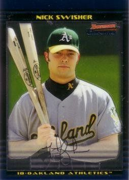 2002 Bowman Chrome Draft Picks Baseball Nick Swisher Rookie Card By