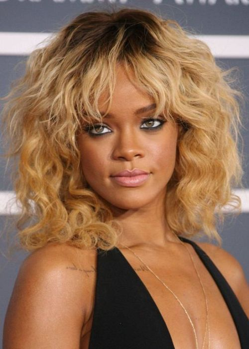 Magnificent 61 Rihanna African American Hairstyle Medium Length Beachy Waves Short Hairstyles Gunalazisus