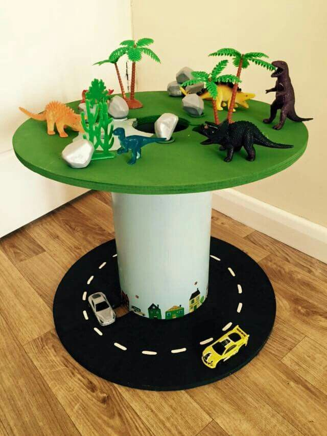 Cable drums road and dinosaurs preschool ideas for Small wire spool ideas