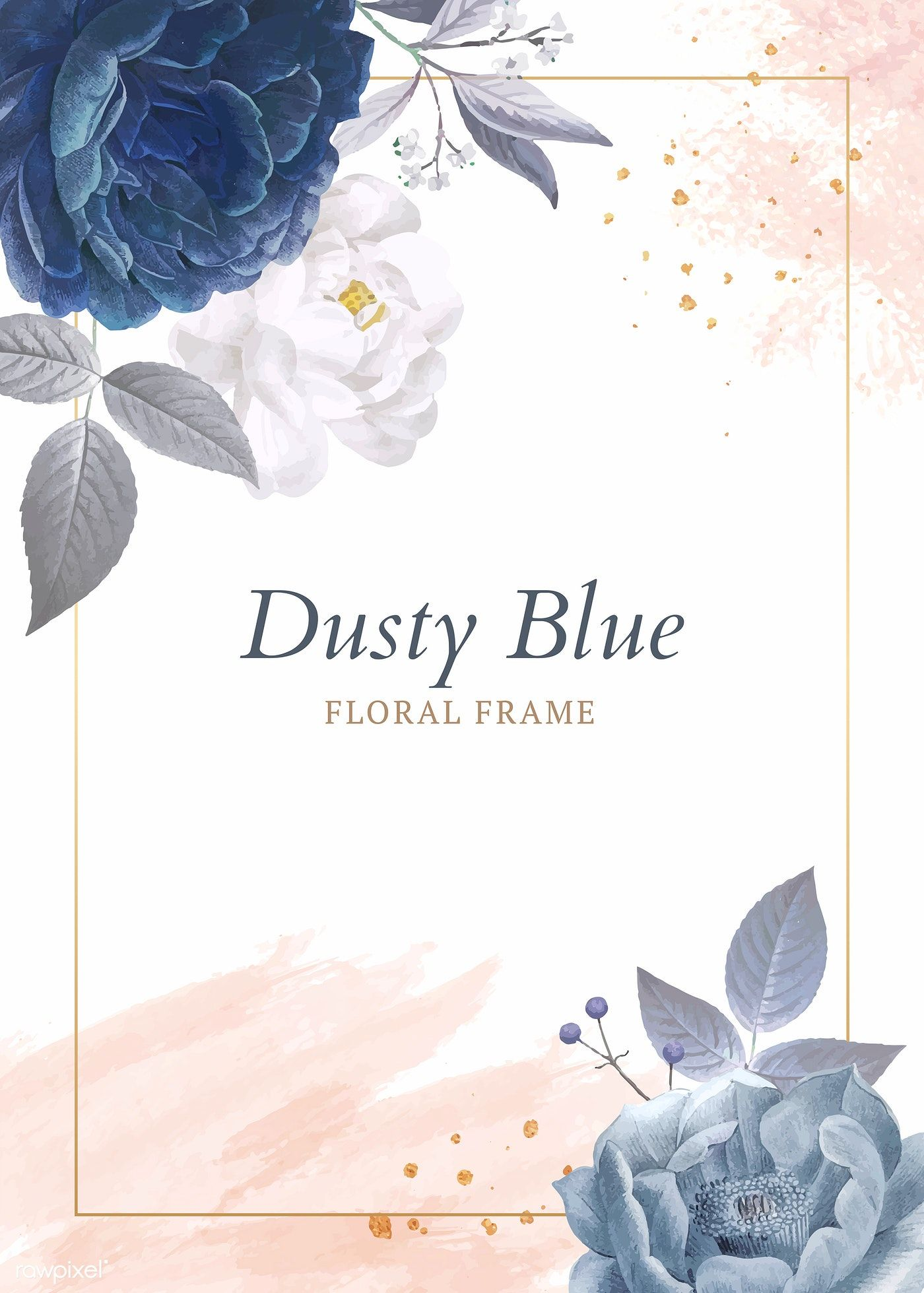 Download premium vector of Dusty blue roses frame template