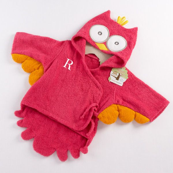 Personalized its a hoot hooded baby towel pink night owl owl its a hoot personalized hooded baby towel with dark pink trim negle Choice Image