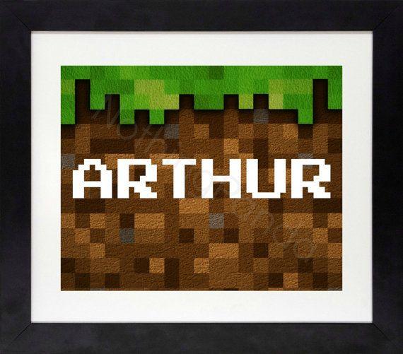 Minecraft Custom Name Print // Boys Wall Art // by
