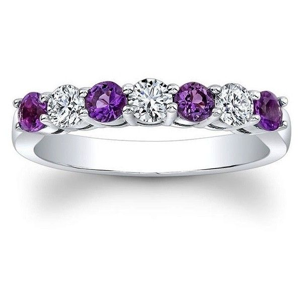 Wedding Band Seven Stone Round Diamonds Amethyst 0 6