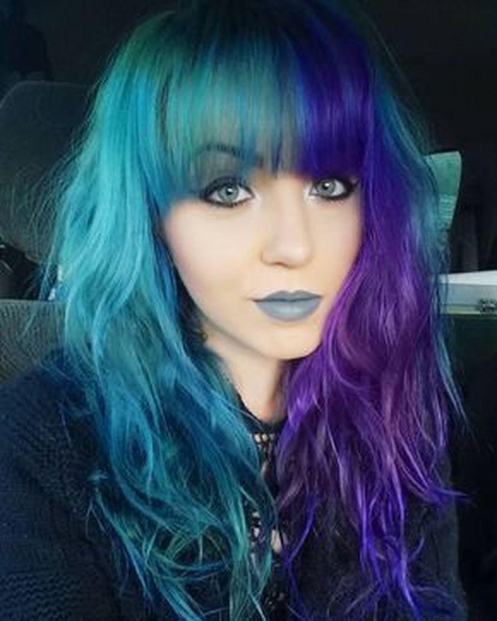 35 Lovely Edgy Hair Color Ideas Split Dyed Hair Edgy Hair Color Mermaid Hair Color