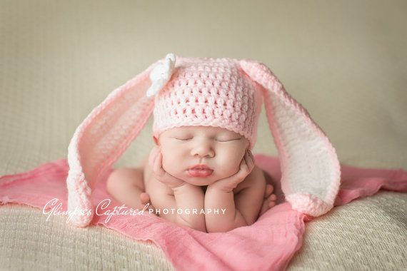 Crochet Bunny Hat Newborn Bunny Hat Diaper by CherryBlossomShoppe ...