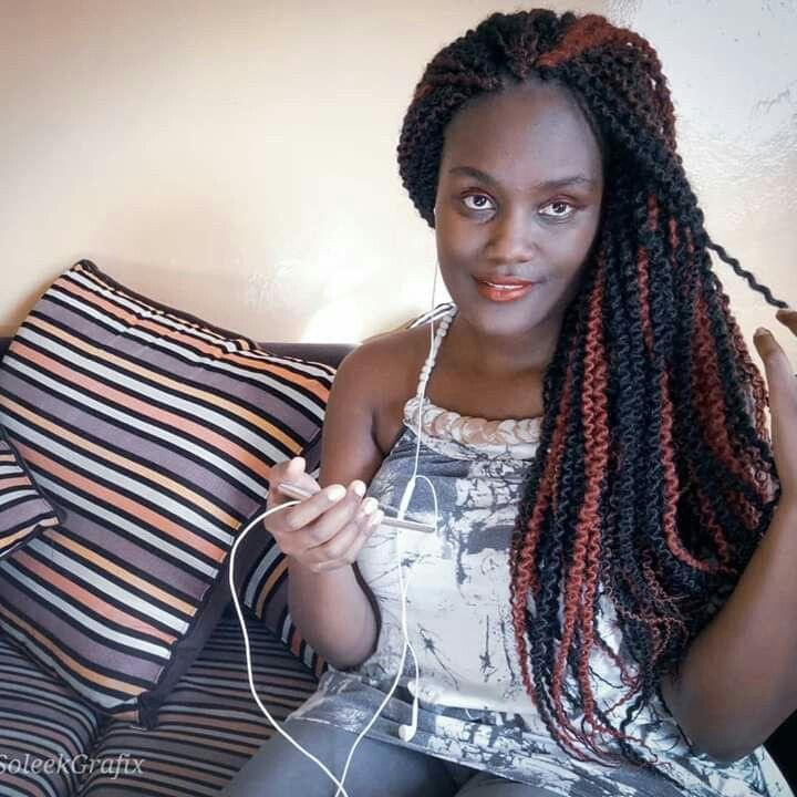 Afrokinky mixed colours, crotchet. Hair styles, Braid