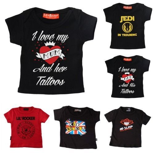 14045d934 Boys Girls Baby Kids Punk Gothic Rock Tattoo Heart Mum Dad T Shirt Top Ages  0-6Y