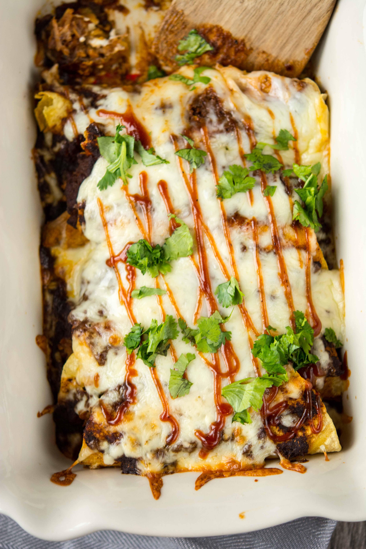 Crockpot BBQ Pulled Pork Enchiladas