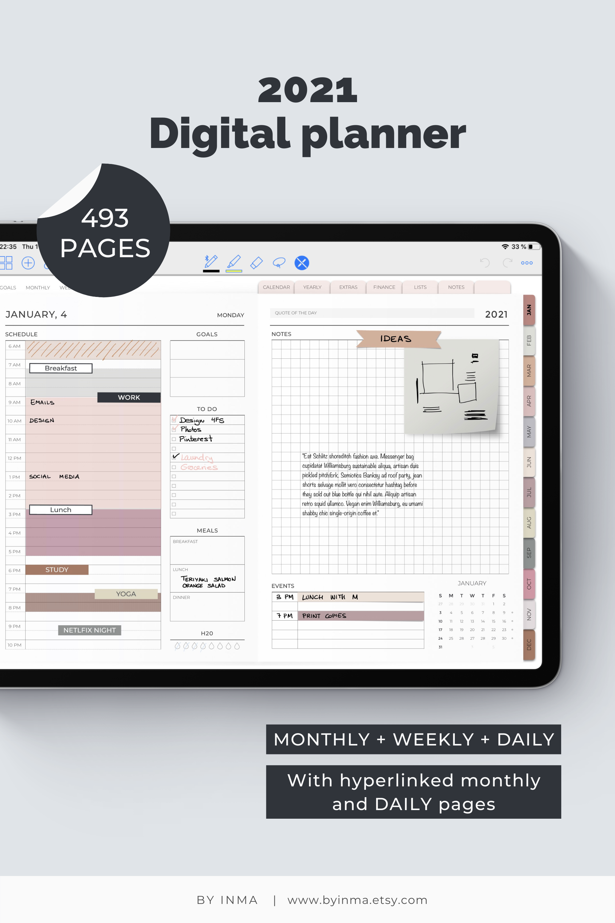 Digital Planner Goodnotes 2021 Daily And Weekly Planner For Ipad With Functional Digital Stickers Included Neutral Colors Digital Planner Planner Daily Planner Pages