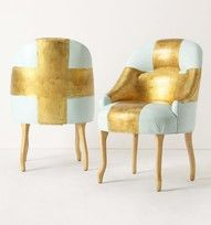 Gold white chair ..pretty