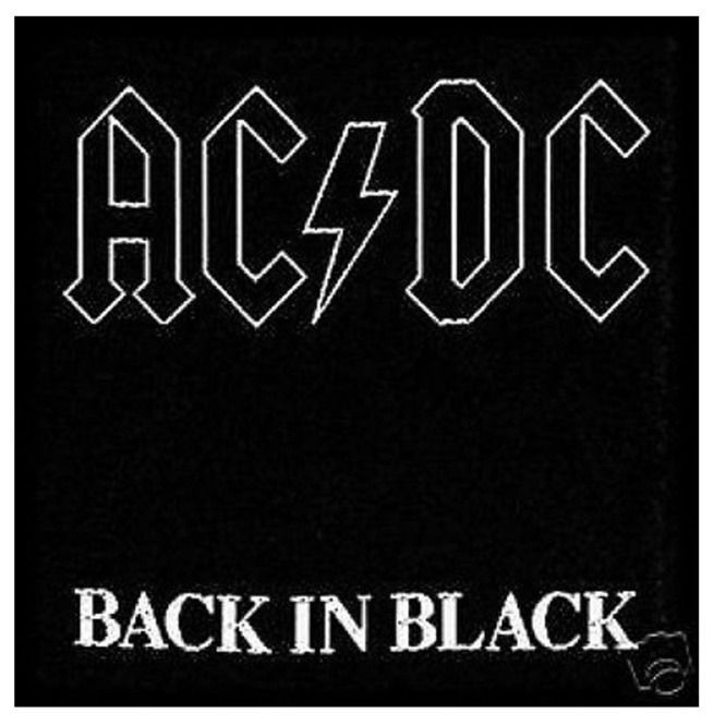 Ac Dc Back In Black Official Patch 10cm X 10cm 4 X 4 Approx In 2020 Rock Album Covers Cool Album Covers Music Album Cover