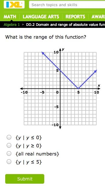 Practice Domain And Range Of Absolute Value Functions With Ixl 20 Free Questions Per Day Algebra 1 Absolute Value Math