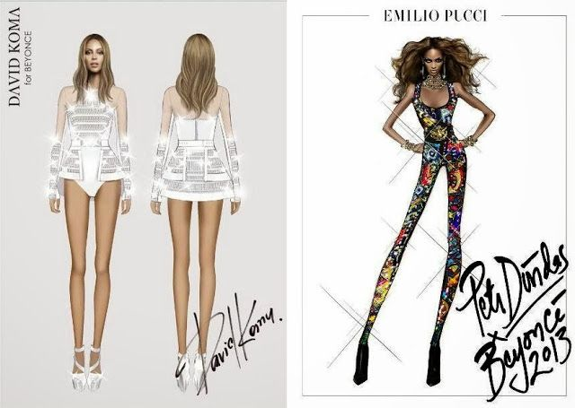 timeless design 6c5de f4d97 Beyonce's David Koma & Emilio Pucci Costume Sketches for her ...