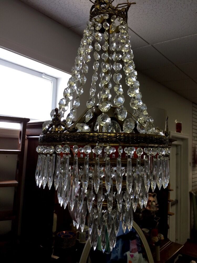 Vintage Italian Crystal Chandelier GORGEOUS #vintageChandelier #ItalianChandelier