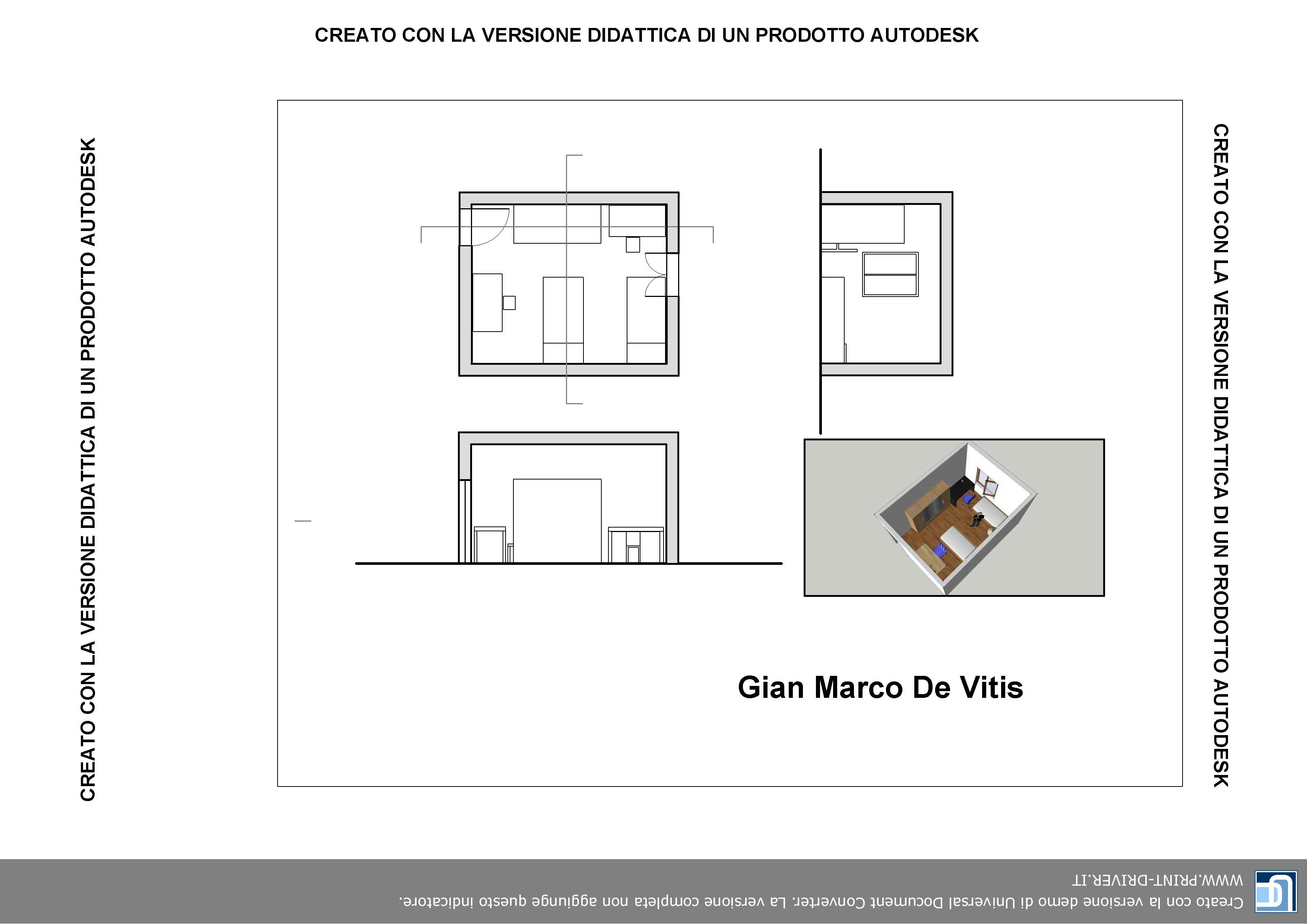 Pianta camera da letto - Autocad | Gian Marco De Vitis | Pinterest