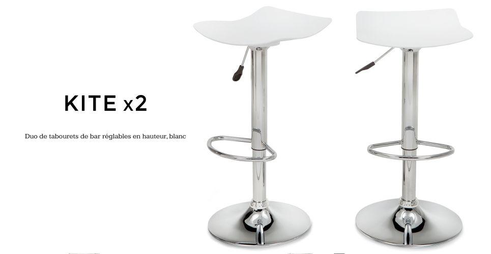 X Kite Tabourets De Bar Réglables Blancs Madecom Idées Pour - Verin a gaz pour meuble de cuisine pour idees de deco de cuisine