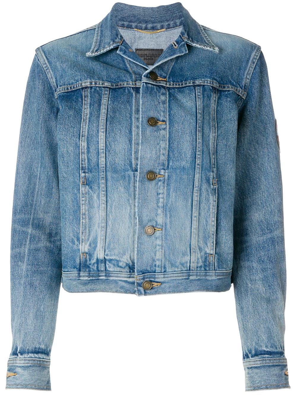 342c15b7850 Saint Laurent original YSL military patch jean jacket - Blue ...
