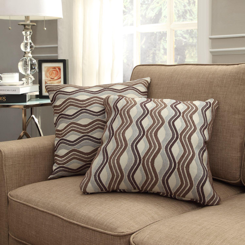 Inspire Q Kayla Primary Wavy Stripe Square Throw Pillows (Set of