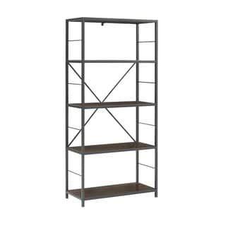 Carbon Loft Ora Metal And Wood Rustic Bookshelf Rustic Bookshelf Wood Bookshelves Etagere Bookcase