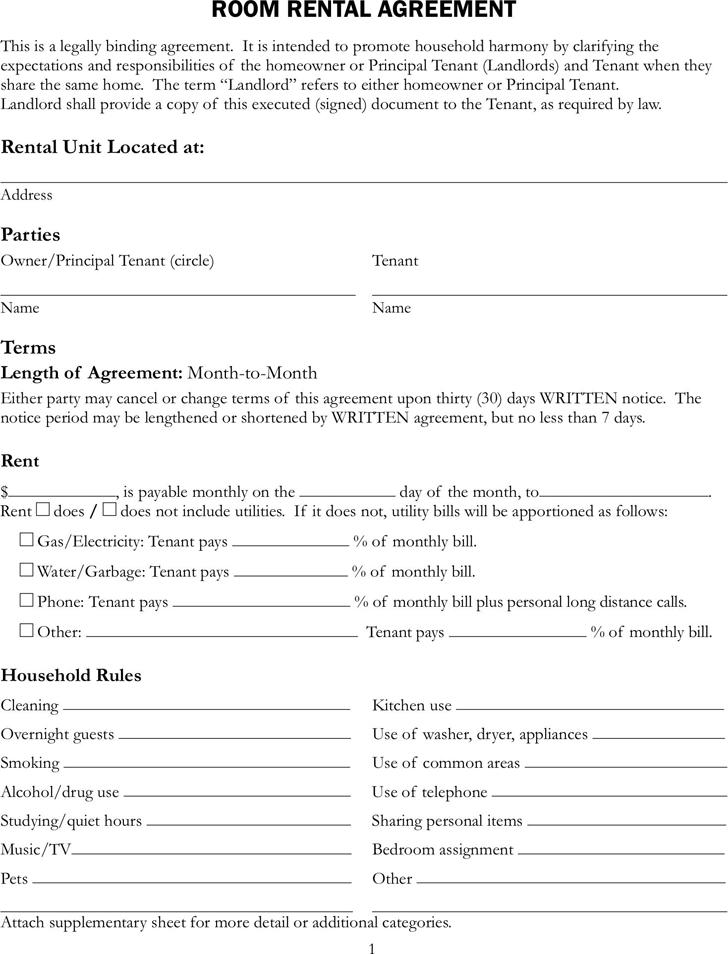 House Rental Agreement Rental Agreement Templates Room