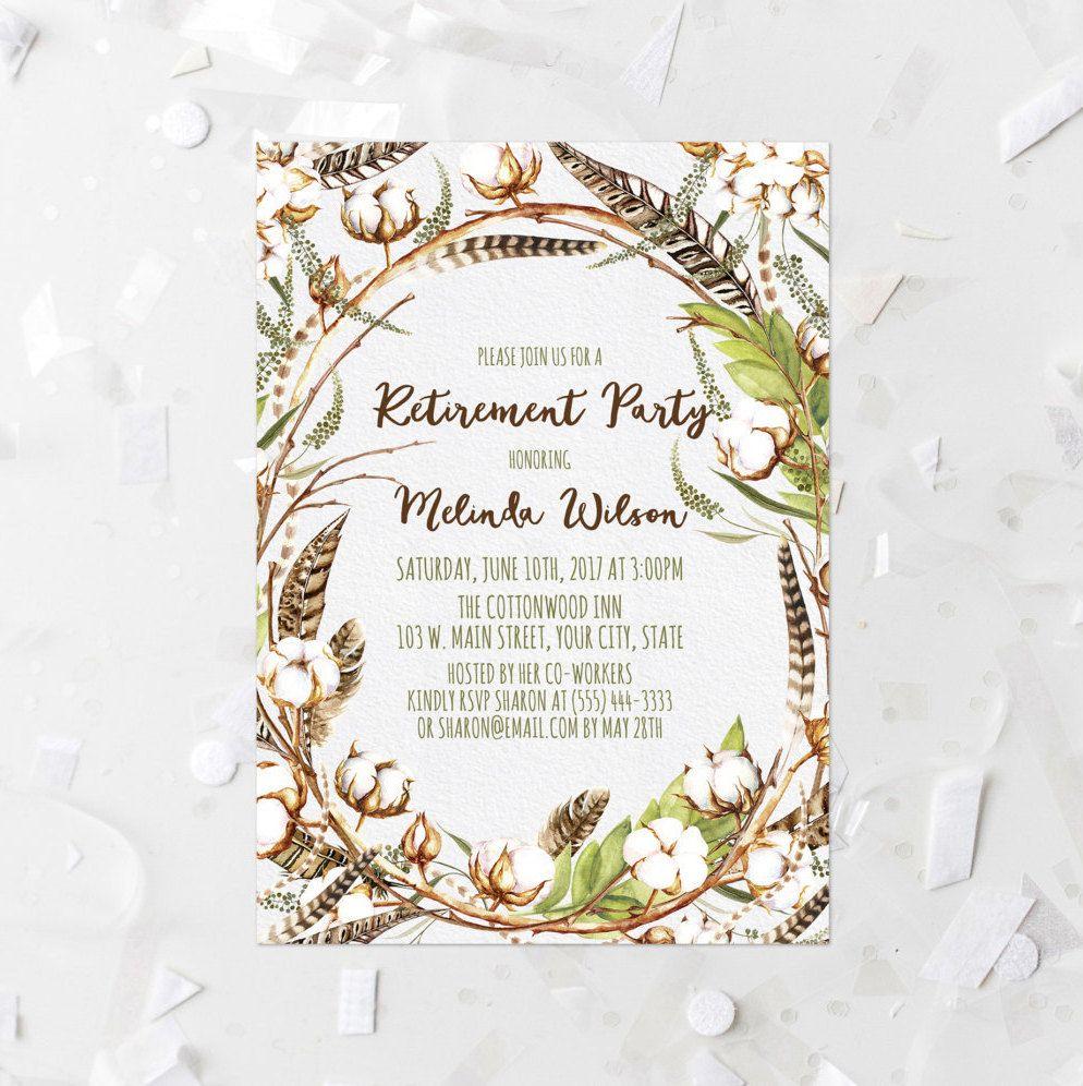 Cotton Floral Retirement Party Invitation Printable Autumn ...