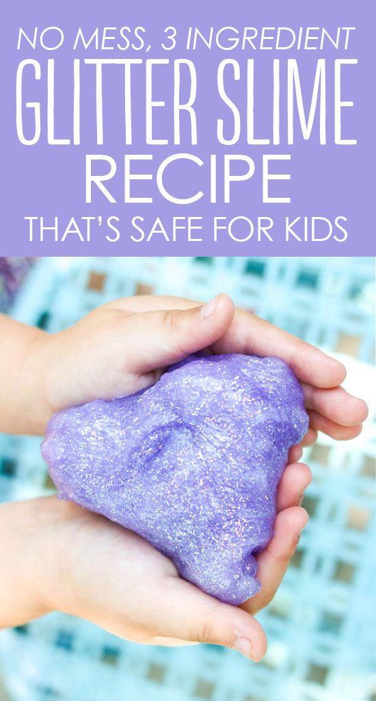 3 Ing Glitter Slime Recipe Mess Free For Kids Borax Safe