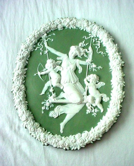 Jasperware plaque girl on swing with roses, cupids