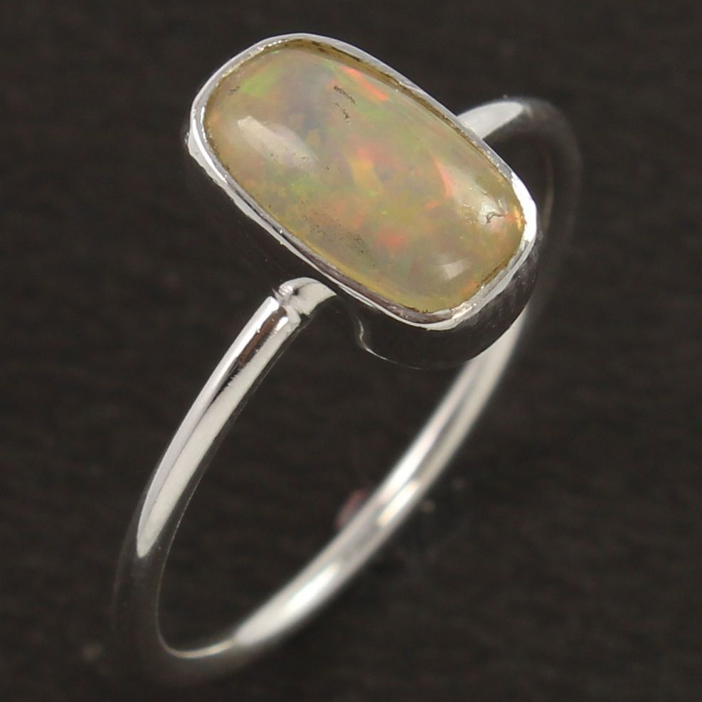 Natural ETHIOPIAN OPAL Gemstone 925 Sterling Silver Ring Size US 8 FREE SHIPPING #Unbranded