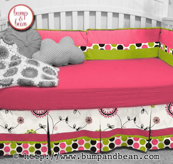 Custom Crib Bedding Set for Baby Girl Nursery Pink by BumpAndBean, $140.00