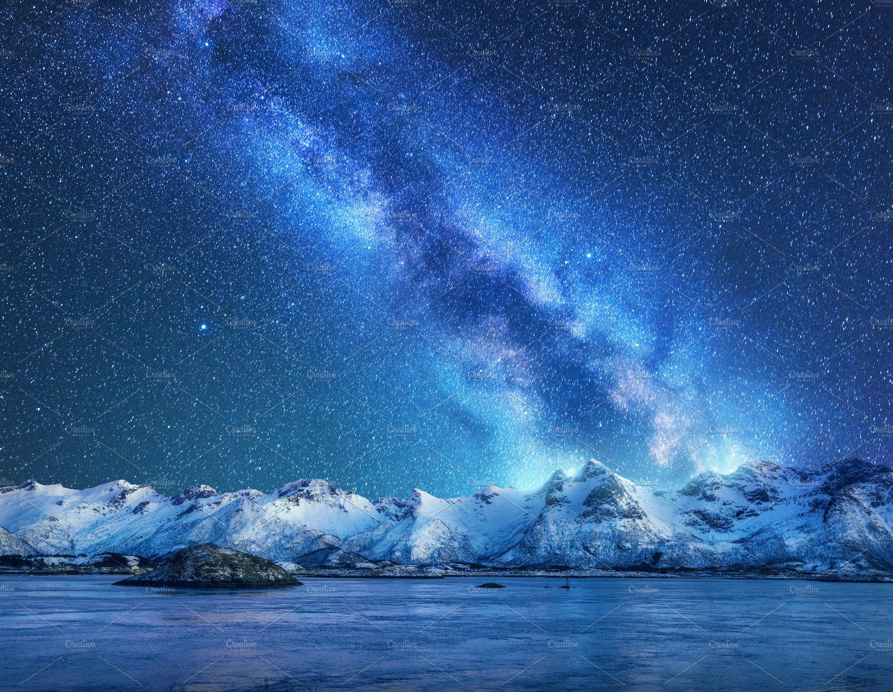 Bright Milky Way Over Snowy Rocks Night Landscape Mountain Landscape Night Photos