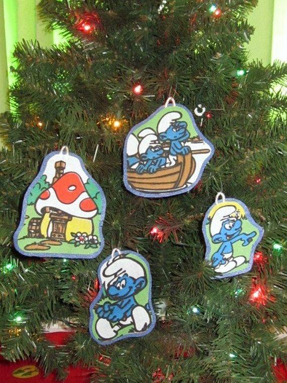 Smurf Christmas Ornament. $10.00 USD, via Etsy. - Smurf Christmas Ornament Christmas Pinterest Christmas