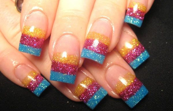 Uñas decoradas con glitter | Uñas francesas, Material para ...