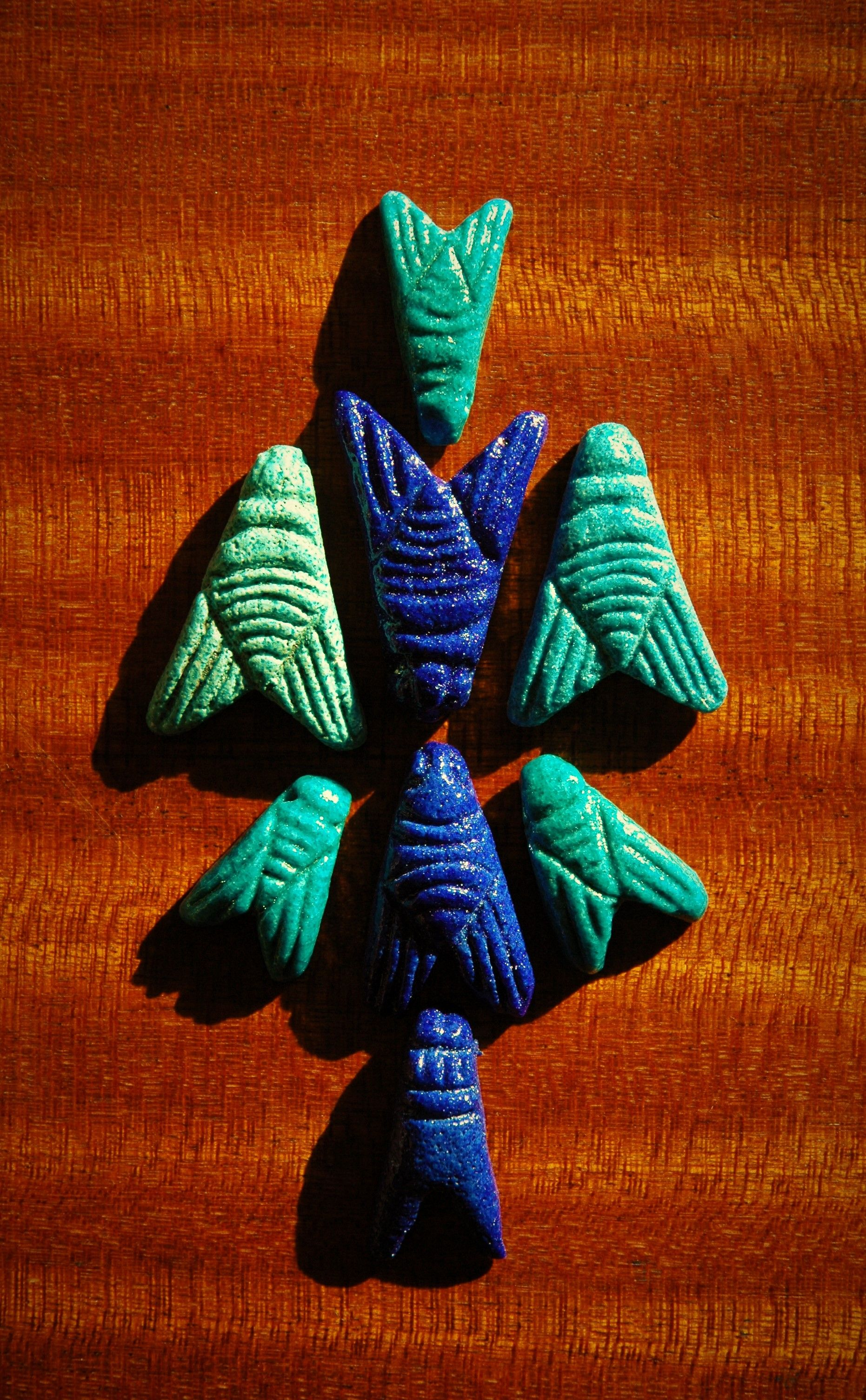 Cobalt Blue And Turquoise Egyptian Paste Faience Fly